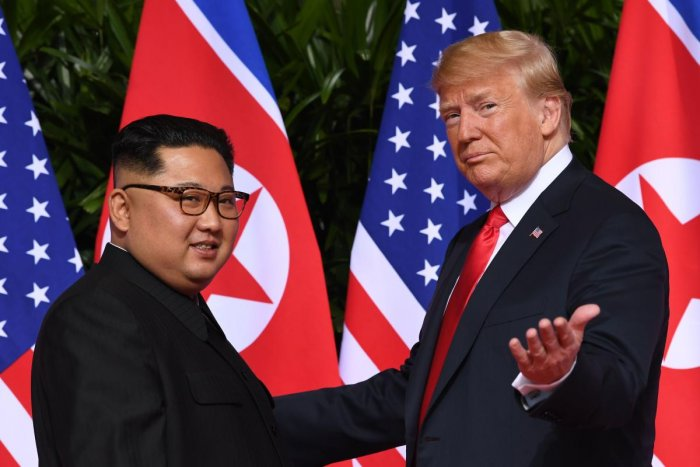 On June 12, 2018 US President Donald Trump met with North Korea's leader Kim Jong Un at the start of their US-North Korea summit, at the Capella Hotel on Sentosa Island in Singapore. Photo/AFP