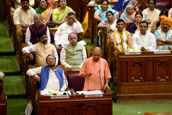 Uttar Pradesh Chief Minister Yogi Adityanath addresses during the second day of the 36-hour special session in the UP Assembly to mark the 150th anniversary of Mahatma Gandhi, in Lucknow, Thursday, Oct. 3, 2019. Photo/PTI