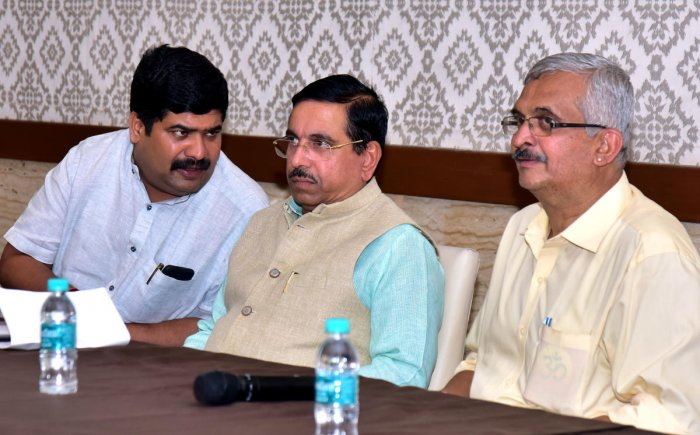 Union Minister for Parliamentary Affairs, Coal and Mining Pralhad Joshi, during an interactive programme in Mangaluru on Monday.
