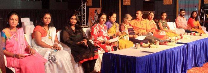 Poets of various languages take part in the Dasara multilingual poets' meet in Madikeri on Friday.