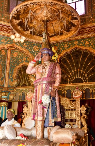 Yaduveer Krishnadatta Chamaraja Wadiyar performs Khasa (private) darbar as part of Navaratri celebration, at Mysuru Palace, in Mysuru, on Wednesday. (DH Photo/Ssvitha BR)