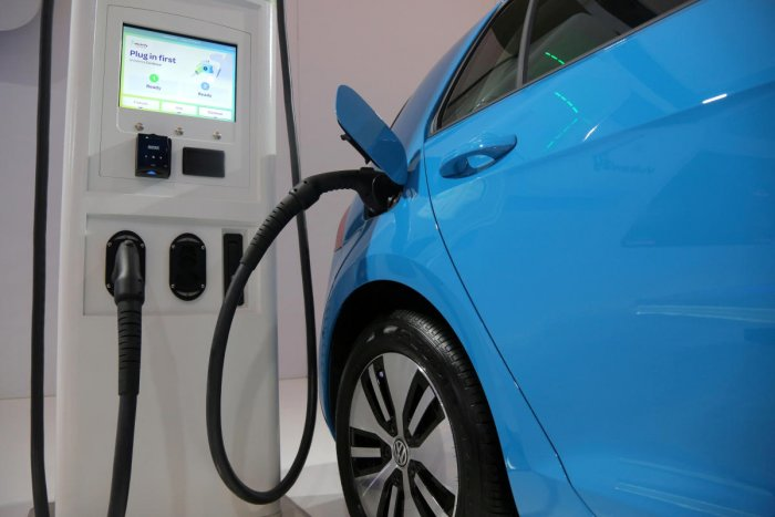 An electric vehicle charging station is seen at the Volkswagen display during media day at the Canadian International AutoShow in Toronto, Ontario, Canada. (Reuters photo)