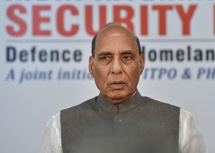 Union Defence Minister Rajnath Singh during the 22nd India International Security Expo 2019, in New Delhi. (PTI photo)