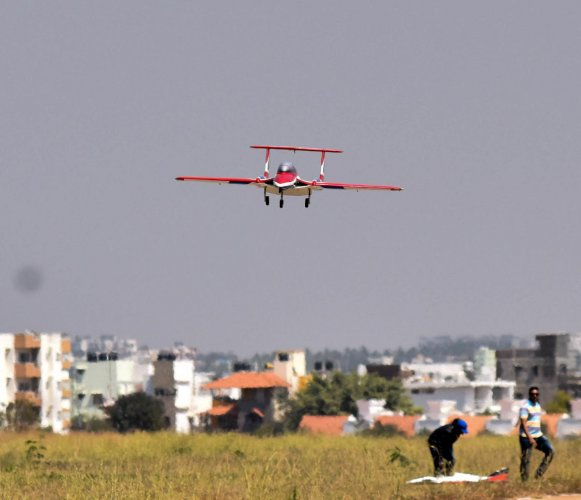 A Jet turbine UAV fly in the Drone Olympics, as part of the Aero India show 2019, at Jakkur Aerodrome in Bengaluru. (DH photo)