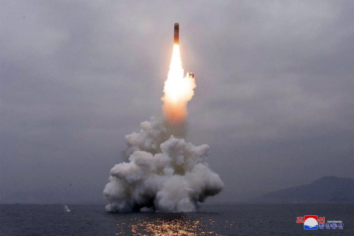 """North Korea successfully test-fired a """"new-type"""" of submarine-launched ballistic missile. (Photo AFP)"""