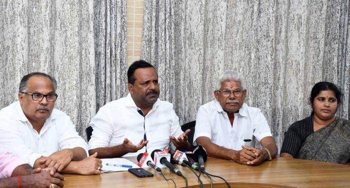 Mangalore MLA U T Khader speaks at a press conference in Mangaluru on Friday.