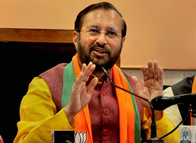 Union minister and BJP leader Prakash Javadekar address a press conference at the party office in Lucknow on Saturday. (PTI Photo)