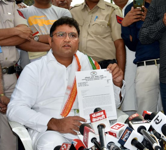 Former Haryana Congress president Ashok Tanwar addresses a press conference after resigning from the party. (PTI Photo)