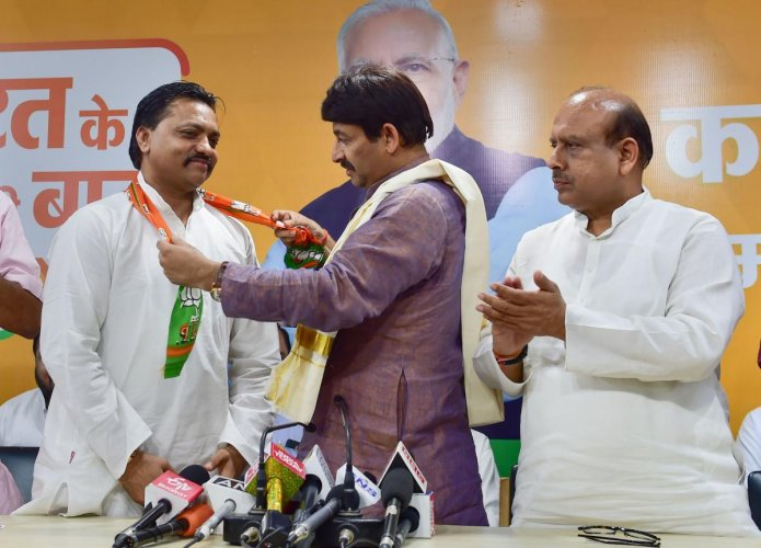 Aam Aadmi Party (AAP) Delhi JJ Cell's Sushil Chauhan joins Bharatiya Janata Party (BJP). (PTI Photo)