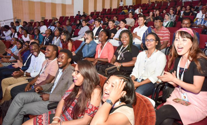 Foreign students participate in the International Students Day, organised by Federation of International Students Association, at Senate Bhavan, in Mysuru, recently. DH PHOTO / SAVITHA B R