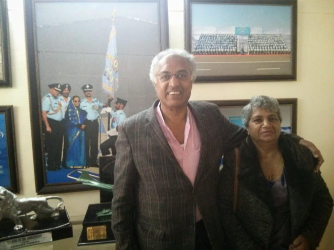 Air Commodore Kariyadil Cheriyan Kuruvilla poses with wife Grace.