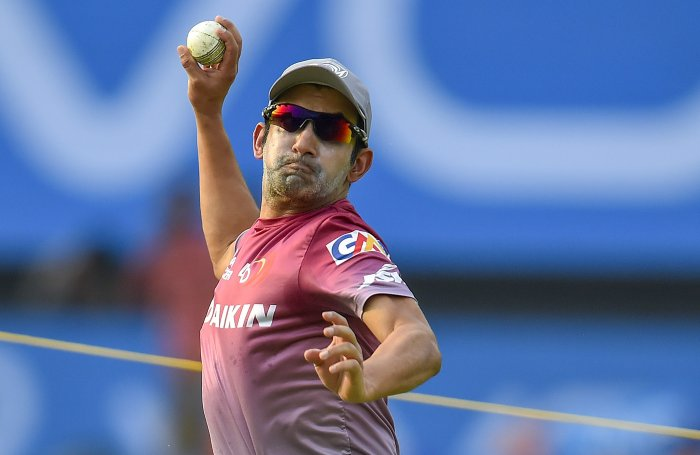 Delhi Daredevils' player Gautam Gambhir during a practice session for IPL 2018. (PTI Photo)