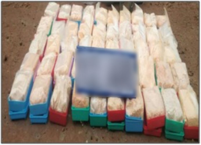 Photo: Brown sugar seized by Assam Rifles in Manipur on Friday. Photo credit: Assam Rifles