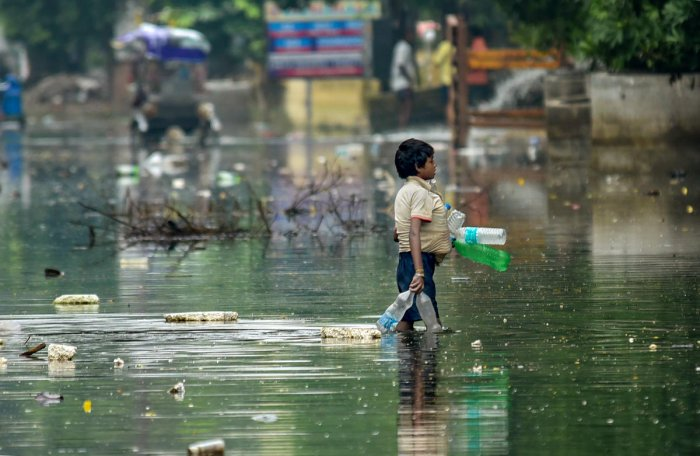 A rag picker collects plastic drinking bottles floating on floodwaters after water levels receded at Rajendra Nagar area, in Patna, Sunday, Oct. 06, 2019. (PTI Photo)