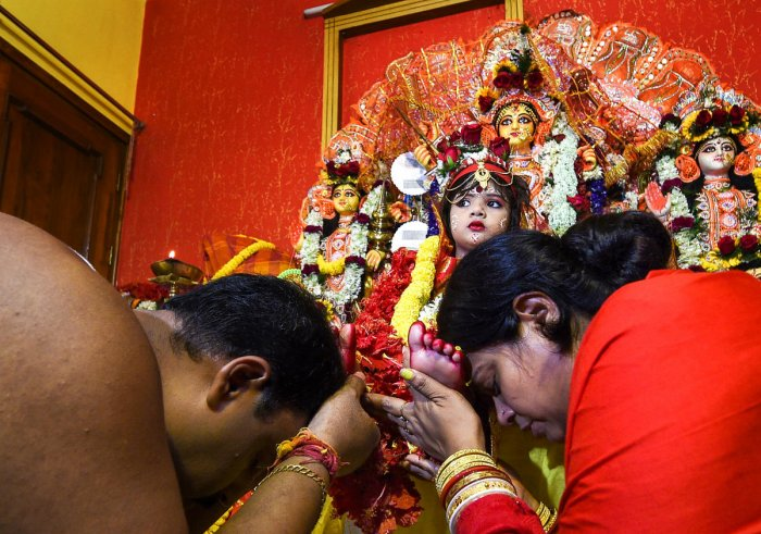 The Dutta family of Arjunpur in North 24 Parganas district has worshipped Fatima, who hails from Agra in Uttar Pradesh, on the occasion of 'Maha Ashtami' on Sunday. (PTI file photo for representation)