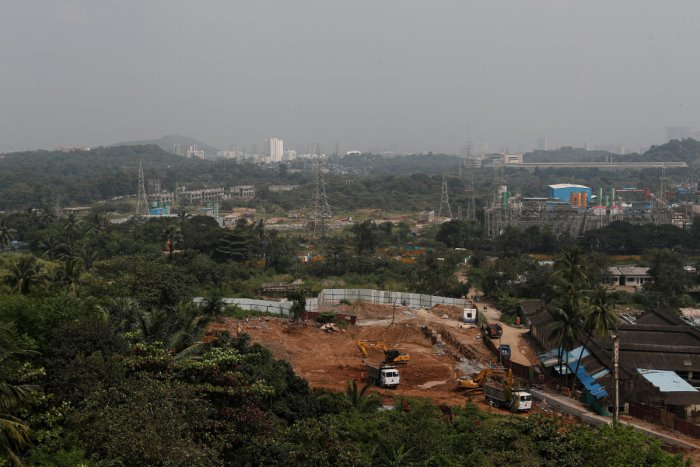 A view of the construction site of a metro train parking shed for an upcoming subway line is seen in the Aarey Colony suburb of Mumbai, India, October 7, 2019. (REUTERS)
