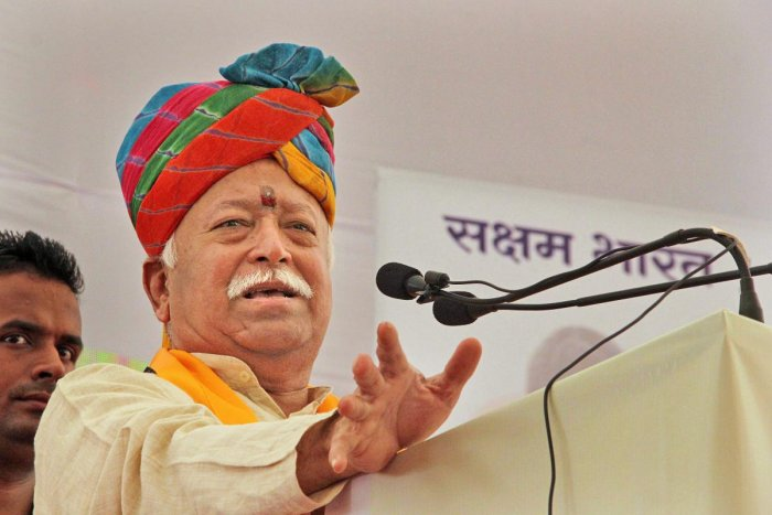 """Bhagwat said all Bharatiyas working for the nation's glory and enhancing its peace are """"Hindus"""". Photo/PTI"""