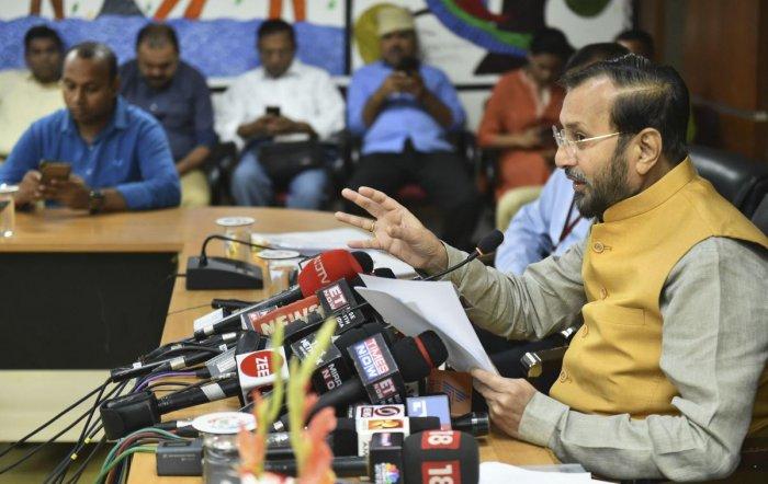 New Delhi: Minister of Environment, Forest and Climate Change, Prakash Javadekar addresses a press conference at Indira Paryavaran Bhawan, in New Delhi, Monday, Oct. 7, 2019. PTI