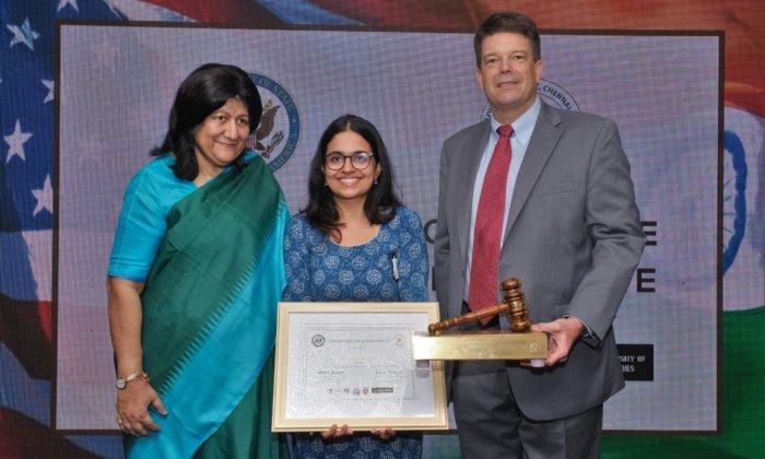 Unnati Ashish Ghia, student at NLSU wins US-India Comparative Constitutional Law Debate.