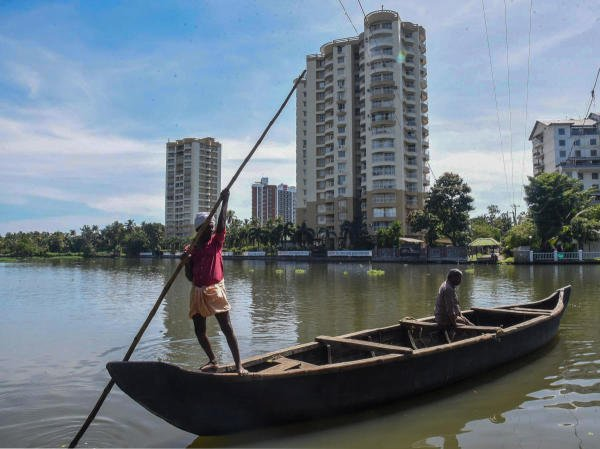 A view of Alfa Serene Apartments at Marad built on the coastal zone, in Kochi. (PTI photo)