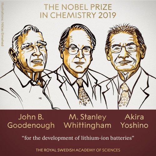 John Goodenough, Stanley Whittingham and Akira Yoshino. (Twitter/@NobelPrize)