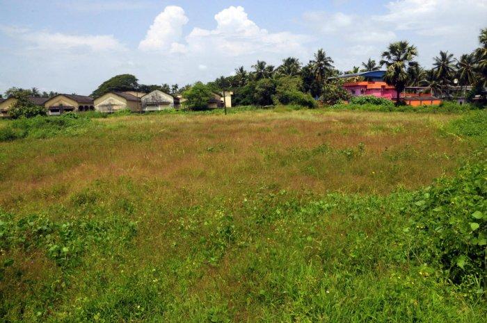 The land earmarked for the construction of Jilla Ranga Mandira at Adi Udupi.