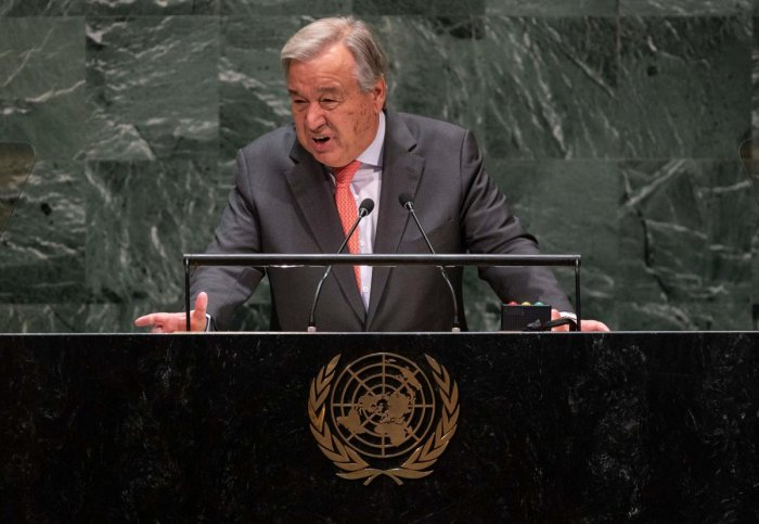 UN Secretary General António Guterres speaks at the 74th session of the United Nations General Assembly in New York. (AFP Photo)