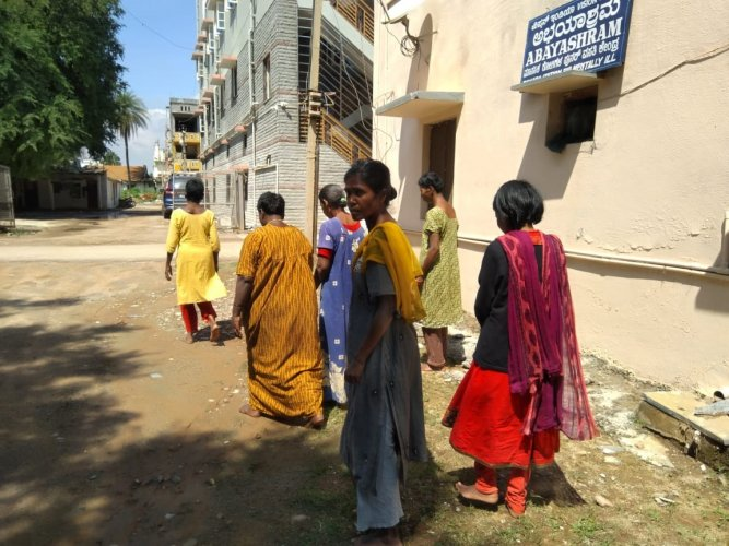 The number of wandering and mentally ill women is growing by the day, and finding a safe place to shelter them is becoming a challenge, say NGOs. (Above) Inmates of Abhayashram.