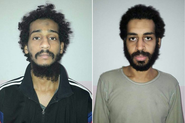 Captured British Islamic State (IS) group fighters El Shafee el-Sheikh (L) and Alexanda Kotey (R), posing for mugshots in an undisclosed location. (AFP Photo)