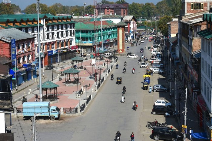 A view of Lal Chowk during restrictions in Srinagar. (PTI Photo)