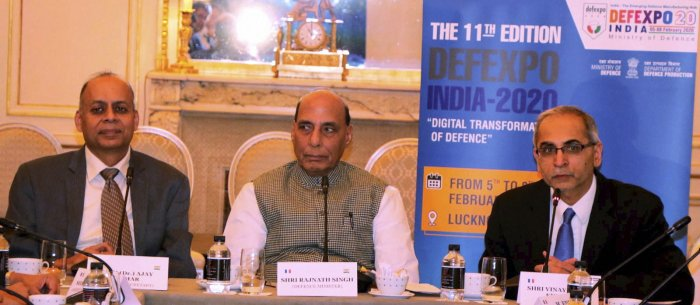 Defence Minister Rajnath Singh addressing the Chief Executive Officers (CEOs) of French Defence Industries, in Paris. (PTI Photo)