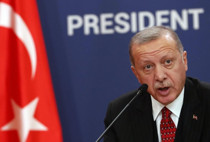 The outline for proposed sanctions on Turkey includes targeting the U.S. assets of President Recep Tayyip Erdogan and imposing visa restrictions. Photo/AP