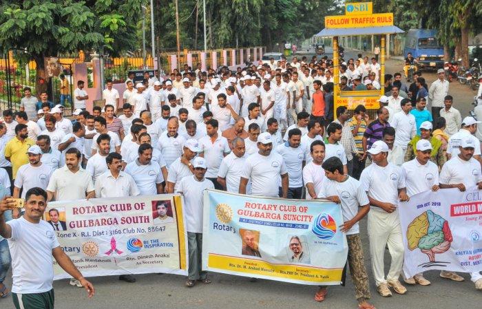 Deputy Commissioner R Venkateshkumar inaugurates an awareness Marathon on World Mental Health Day, organised by Kalyan Karnataka Psychiatric Guild and Rotary Suncity & Rotary South and District Mental Health at Jagat Circle in Kalaburagi on Wednesday.