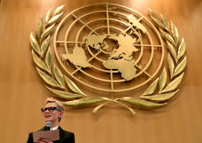 UNHCR goodwill ambassador and actress Cate Blanchett speaks at a High-Level Segment on Statelessness during the UNHCR's Executive Committee meeting at the United Nations in Geneva, Switzerland, October 7, 2019. REUTERS/Denis Balibouse