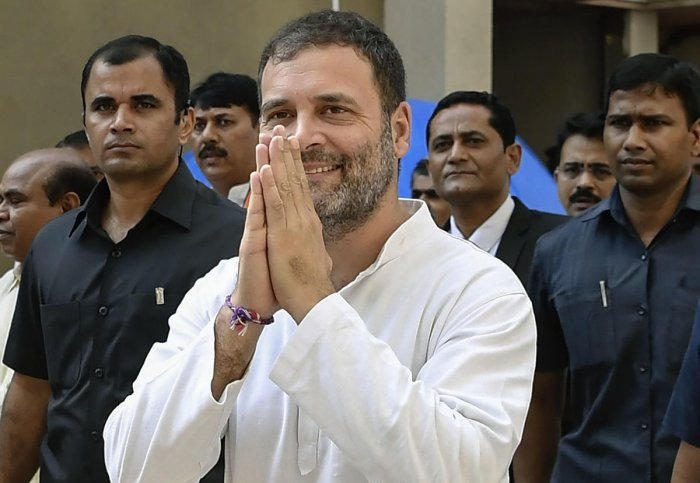 Surat: Former Congress President Rahul Gandhi arrives at District and Session Court, in Surat, Thursday, Oct. 10, 2019. (PTI Photo)