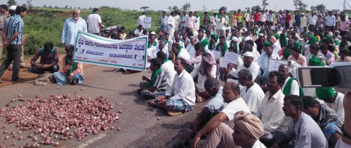 Onion growers protest price fall by dumping the produce on state highway 57, blocking traffic on Gadag-Ron stretch in Gadag district on Thursday. DH PHOTO