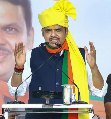 Chief Minister Devendra Fadnavis addresses an election rally ahead of Maharashtra Assembly elections. (PTI Photo)