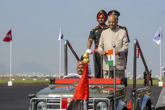President Ram Nath Kovind inspects a passing out parade during a ceremony to present President's Colours to the Army Aviation Corps, in Nashik, Thursday, Oct. 10, 2019. (PTI Photo)