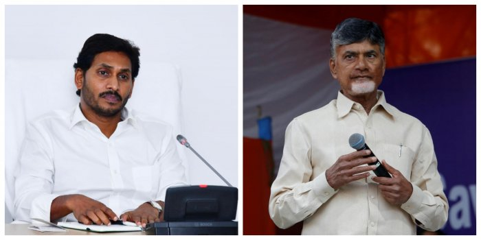 Andhra Pradesh Chief Minister and YSR Congress Party leader Y S Jagan Mohan Reddy (L) and Telugu Desam Party leader N Chandrababu Naidu (R) (DH and Reuters Photos)