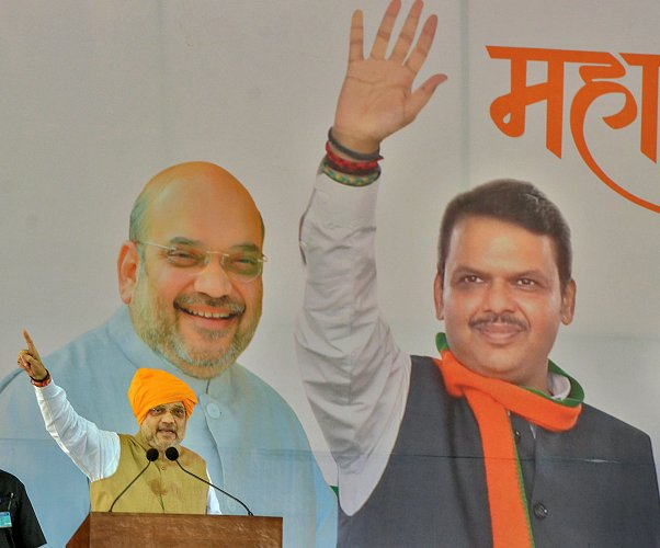 Home Minister Amit Shah addresses his supporters during a rally ahead of Maharashtra's assembly election, at Jath in Sangli district of Maharashtra. (PTI Photo)