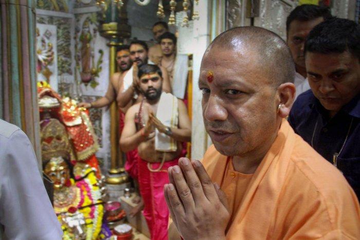 Uttar Pradesh Chief Minister Yogi Aditynath visits Mumbadevi temple, in Mumbai, Thursday, Oct. 10, 2019. (PTI Photo)