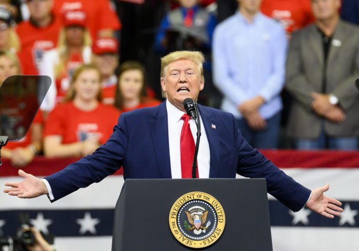 US President Donald Trump speaks onstage during a campaign rally at the Target Center in Minneapolis, Minnesota. (AFP Photo)