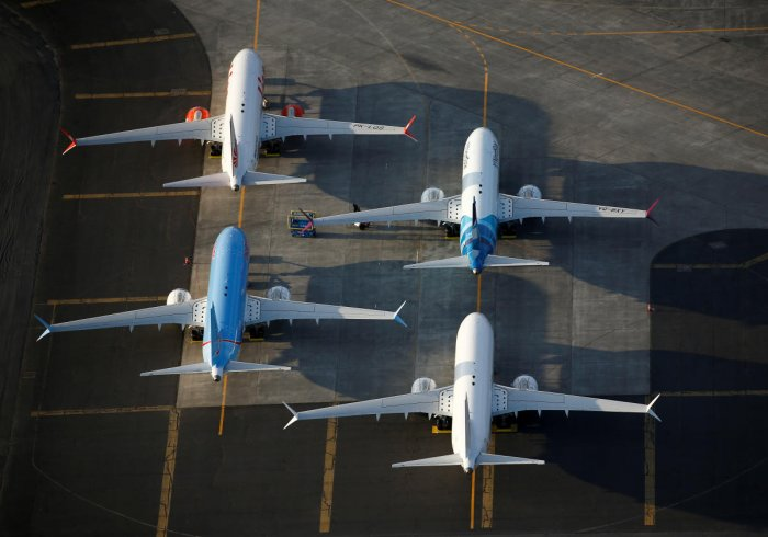 FILE PHOTO: An aerial photo shows Boeing 737 MAX aircraft at Boeing facilities at the Grant County International Airport in Moses Lake, Washington, September 16, 2019. Reuters