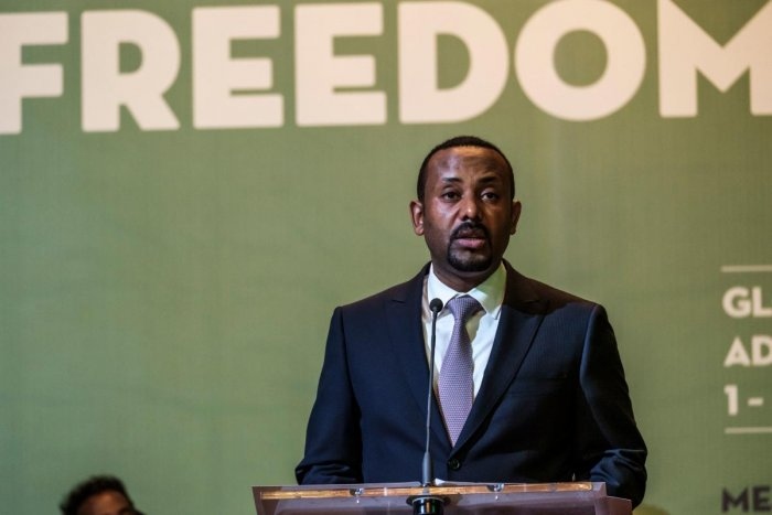 Abiy Ahmed, Prime Minister of Ethiopia, speaks during the Guillermo Cano World Press Freedom Prize ceremony in Addis Ababa.(Photo by AFP)
