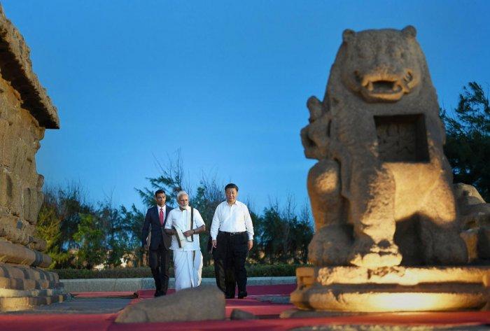 Prime Minister Narendra Modi with Chinese President Xi Jinping, in Mamallapuram, Friday, Oct. 11, 2019. (Twitter/PTI Photo)
