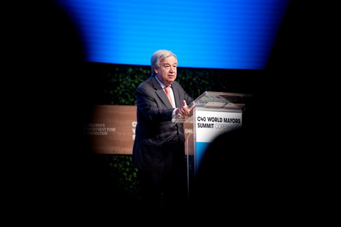 Antonio Guterres, Secretary-General of the United Nations delivers his keynote at the C40 World Mayors Summit at the main stage in Tivoli Conference Centre, Copenhagen, Denmark. (Reuters Photo)