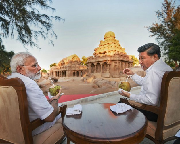 Prime Minister Narendra Modi with Chinese President Xi Jinping, in Mamallapuram, Friday, Oct. 11, 2019. Xi and Modi are scheduled to hold informal summit talks this evening and on Saturday. Photo/PTI