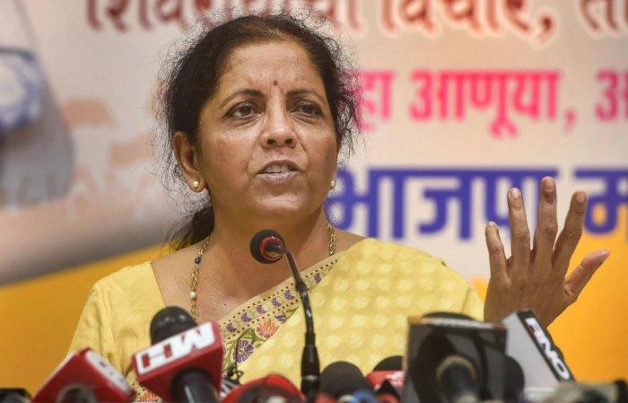 Union Finance Minister Nirmala Sitharaman. PTI Photo