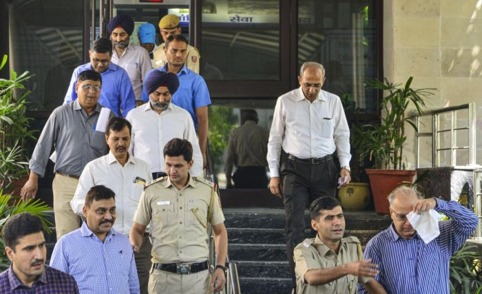 Former promoters of pharmaceutical giant Ranbaxy, Shivinder Singh, his elder brother Malvinder Singh and three others arrested by the Economic Offences Wing (EOW) of Delhi Police for allegedly misappropriating funds of Religare Finvest Limited (RFL) to the tune of Rs 2,397 crore, in New Delhi, Friday, Oct. 11, 2019. (PTI Photo/Arun Sharma)