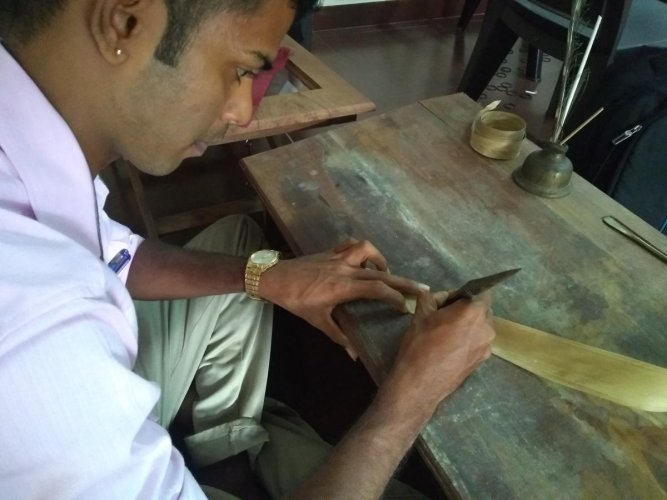 Subhas Nayak, an archaeologist, is among the three researchers who have taken to palm-leaf documentation in Udupi.